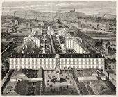 Maison Municipale de Sante (Health city house), Paris, rue de Fauburg. Created by Fichot, published on L'Illustration, Journal Universel, Paris, 1858