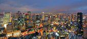 Panorama of the Umeda, Osaka, Japan skyline.