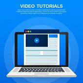 Video Tutorials Icon Concept. Study And Learning Background, Distance Education And Knowledge Growth poster