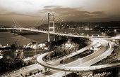 stock photo of tsing ma bridge  - It is beautiful night scenes of Tsing Ma Bridge in Hong Kong - JPG