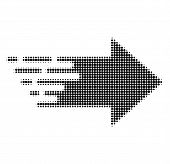 Right Arrow Halftone Dotted Icon With Fast Speed Effect. Vector Illustration Of Right Arrow Designed poster
