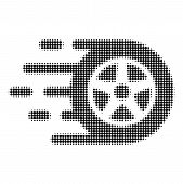 Car Wheel Halftone Dotted Icon With Fast Speed Effect. Vector Illustration Of Car Wheel Designed For poster