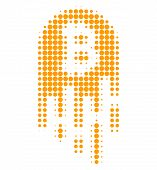 Melting Bitcoin Halftone Dotted Icon. Halftone Pattern Contains Circle Elements. Vector Illustration poster