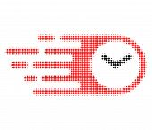 Speed Time Halftone Dotted Icon With Fast Speed Effect. Vector Illustration Of Speed Time Designed F poster