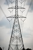 Group Silhouette Of Transmission Towers (power Tower, Electricity Pylon, Steel Lattice Tower) At Clo poster