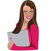 bright girl with laptop, business woman, vector illustration