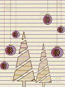 ein Vektor Weihnachten & Neujahrskarte mit Baum, Schneeflocken, floral, Linie, Glocke für Weihnachten, Neujahr & o