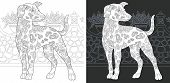 Coloring Page. Coloring Book. Colouring Picture With Dalmatian Dog Drawn In Zentangle Style. Antistr poster