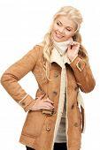 picture of beautiful woman in sheepskin jacket