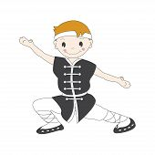 pic of friendship belt  - Vector illustration of cartoon  kung fu boy - JPG