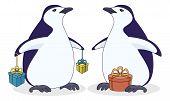 Pingüinos antárticos con cajas de regalo