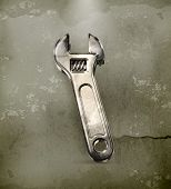 Adjustable wrench, old-style vector