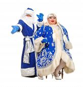 Travesty Actors Genre Depict Santa Claus And Snow Maiden