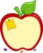 Ilustración de un panel de corcho en forma de manzana con un Post-it Nota viró a él