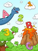 Illustration of Numbers and Letters of the Alphabet Drawn Against a Background with a Prehistoric Design