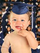 Graduating baby. Early childhood education and future graduate concept.