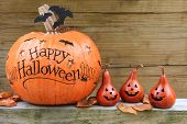 stock photo of happy halloween  - Happy Halloween pumpkin display - JPG