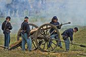 SHARPSBURG, MARYLAND - SEPTEMBER 16: Union cannon at the 150th anniversary of the civil war battle in Antietam on September 16, 2012 in Sharpsburg, Maryland. Actual battle took place on 9/17/1862.