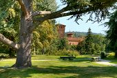 Medieval Castle among trees at botanical garden located at Valentino Park (Parco del Valentino) in T