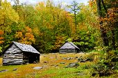 picture of red siding  - Two old log homes in fall at Smoky Mountain National Park - JPG