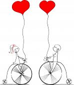 Love boy and girl ride a bicycle