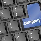 Teclado botones clave de la empresa - concepto del negocio