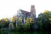 image of doma  - A pceudo gothic church and lake in Stuttgart - JPG