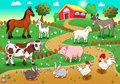 Farm animals with background. Vector and cartoon illustration.