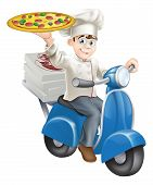 image of take out pizza  - A smartly dressed pizza chef in his chef whites delivering pizza on his moped - JPG