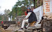 Nepalese peasant relaxing