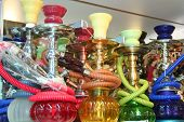 picture of bong  - Traditional turkish objects as souvenirs on display at a touristic street market in Istanbul - JPG