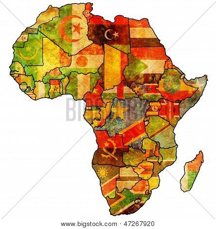African Union On Actual Map Of Africa poster