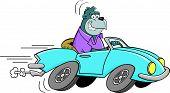 Cartoon Gorilla Driving a Car