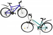 Bicycles isolated under the white background