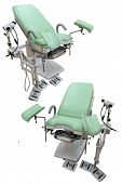 Special chairs from a gynaecologist consulting room isolated under the white background