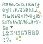 Chunky Sew-On Alphabet and Numerals - hand-stitched felt alphabet and numerals, with buttons, exclam