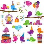Vector Set of Cute Party Themed Birds