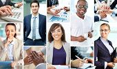 Collage of smart businesspeople at work and hands of companions
