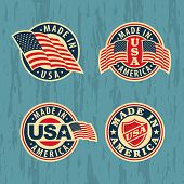 Made in America - set of badges and labels.