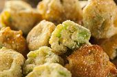 image of okras  - Organic Homemade Fried Green Okra against a Background - JPG