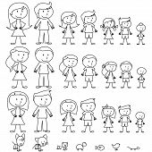 stock photo of outline  - Large Set of Stick Figure People and Pets - JPG