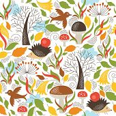 Seamless pattern with a cute hedgehogs