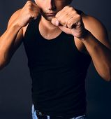 Muscular Man In Boxing Stance