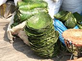 foto of kadai  - plates made of green leafs in India - JPG