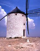 Whitewashed wimdmill, Consuegra, Spain.