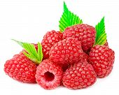 Delicious Fresh Raspberries With Green Leaf Isolated On White Background