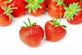 Fresh Tasty Strawberries Isolated On White Background