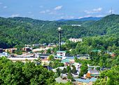 The skyline of downtown Gatlinburg, Tennessee, USA in the Great Smoky Mountains.