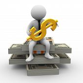 pic of bundle money  - 3d illustration of man sitting on dollar pack and holding golden dollar symbol - JPG