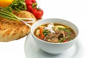 Kharcho Soup With Bread And Vegetables